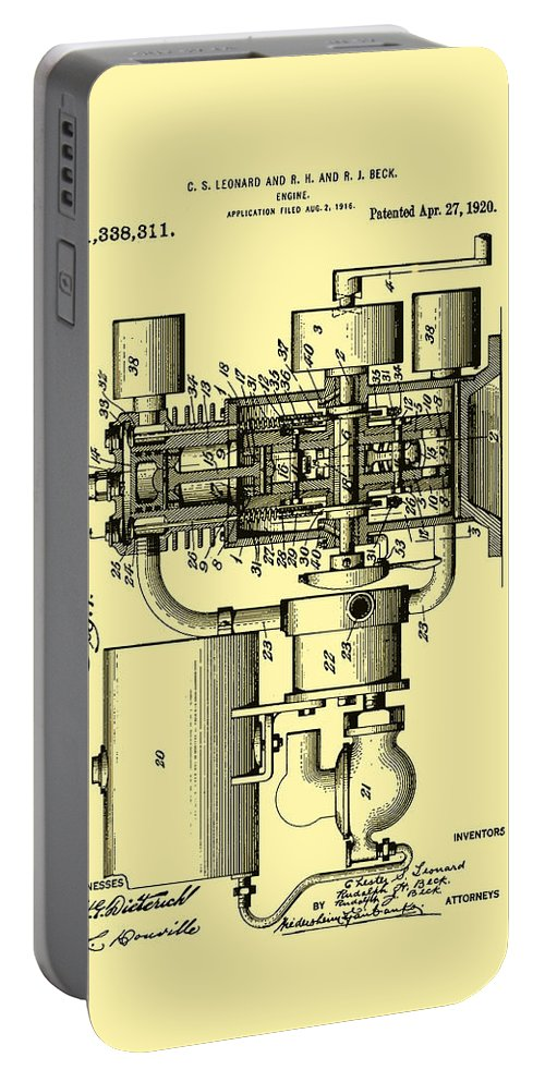 Patent Portable Battery Charger featuring the drawing Engine Patent 1920 by Mountain Dreams