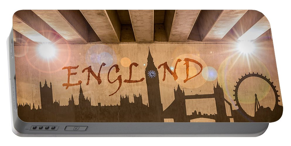 Bridge Portable Battery Charger featuring the photograph England Graffiti Landmarks by Semmick Photo