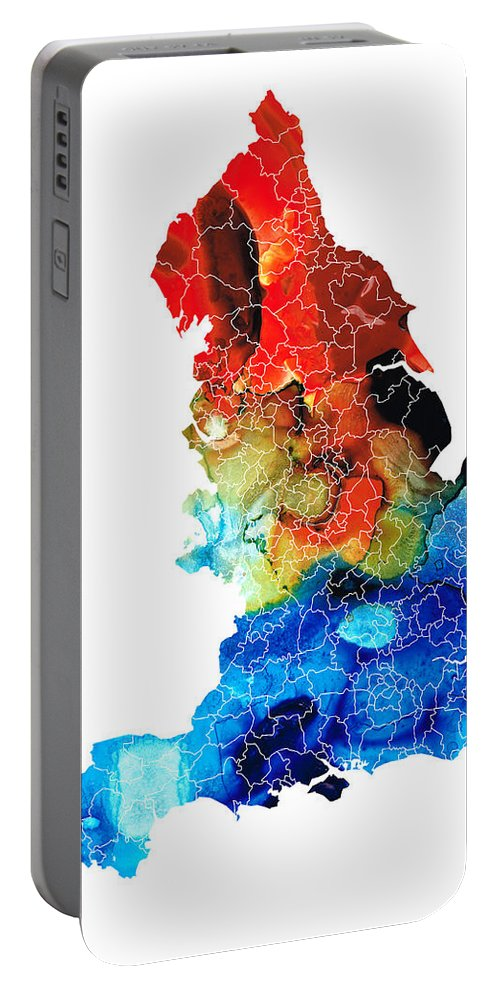 England Portable Battery Charger featuring the painting England - Map Of England By Sharon Cummings by Sharon Cummings