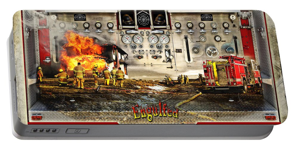 Fire Portable Battery Charger featuring the photograph Engulfed by John Anderson