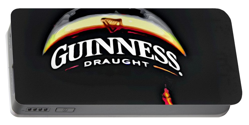 Beer Portable Battery Charger featuring the painting Enjoy Guinness by Florian Rodarte