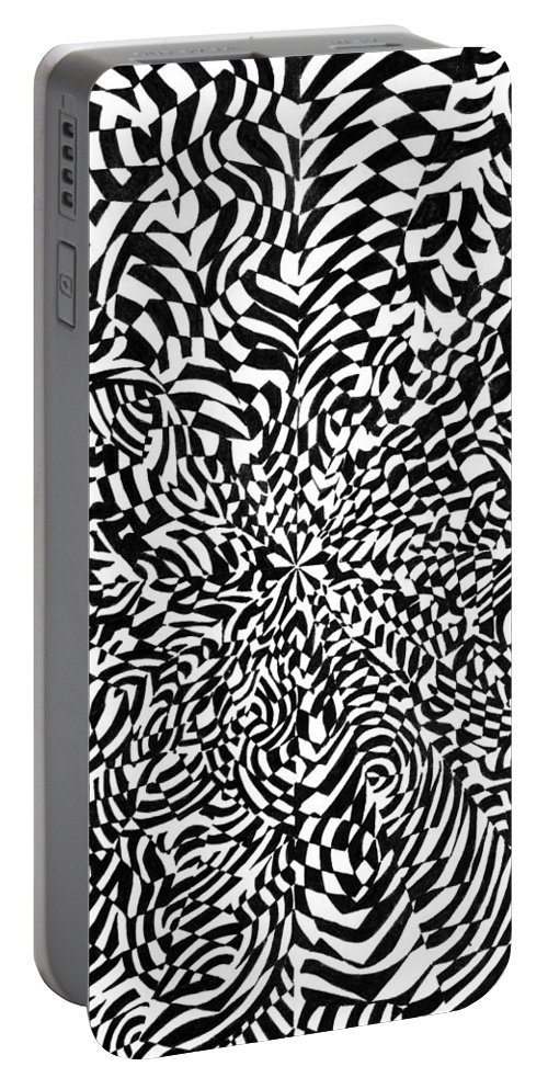 Abstract Portable Battery Charger featuring the drawing Entangle by Crystal Hubbard