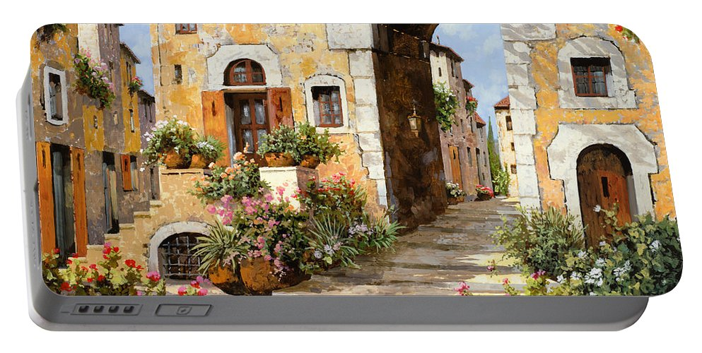 Cityscape Portable Battery Charger featuring the painting Entrata Al Borgo by Guido Borelli