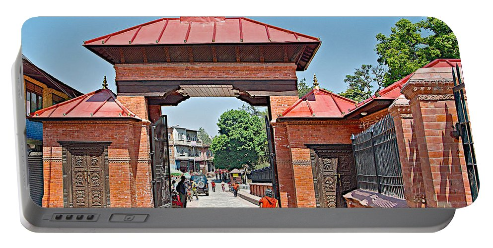 Entry To Pasupatinath Temple Of Cremation Complex In Kathmandu In Nepal Portable Battery Charger featuring the photograph Entry To Pasupatinath Temple Of Cremation Complex In Kathmandu-nepal  by Ruth Hager