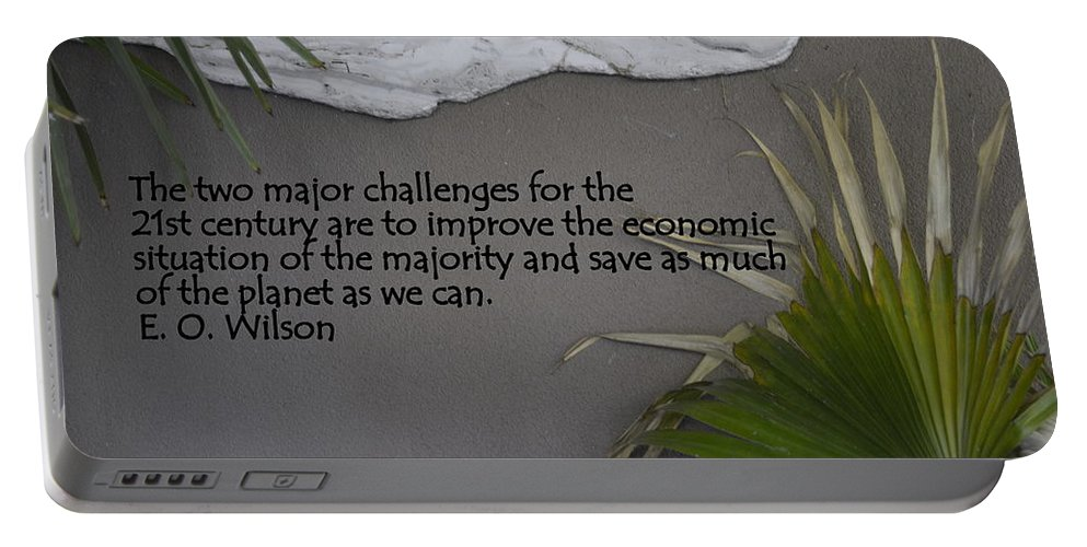 E.o. Wislon Portable Battery Charger featuring the photograph E.o. Wilson Quote by Kathy Barney