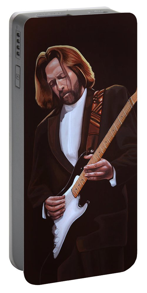 Eric Clapton Portable Battery Charger featuring the painting Eric Clapton Painting by Paul Meijering
