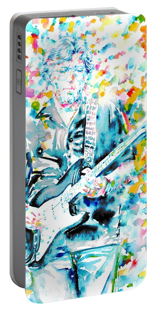 Eric Clapton Portable Battery Charger featuring the painting Eric Clapton - Watercolor Portrait by Fabrizio Cassetta