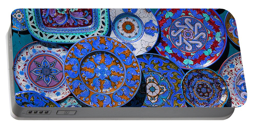 Plate Portable Battery Charger featuring the photograph Erice Italy Plates Blue by Mike Nellums