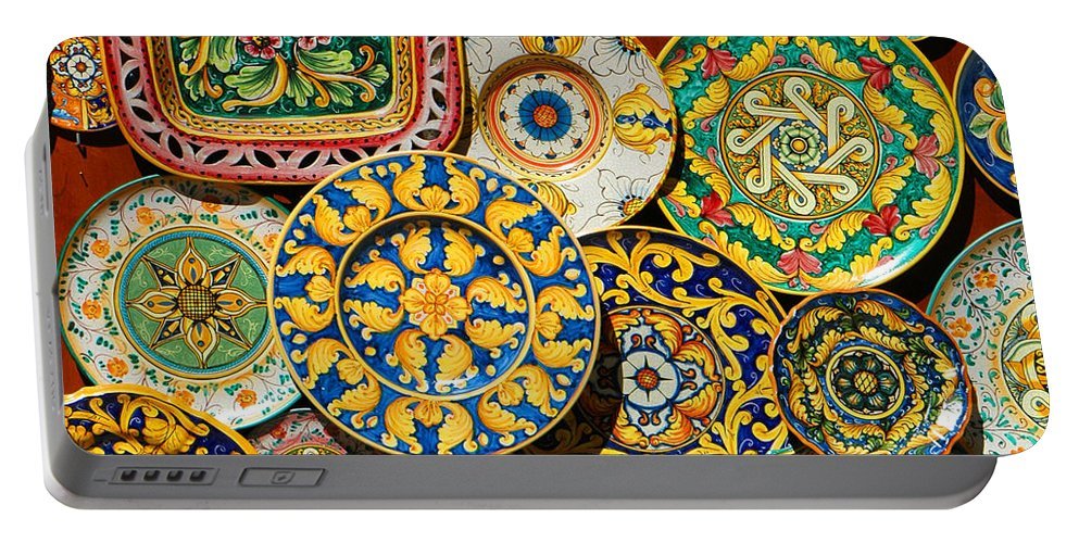 Plate Portable Battery Charger featuring the photograph Erice Sicily Plates Yellow by Mike Nellums