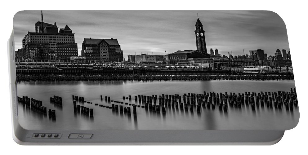 Erie Lackawana Portable Battery Charger featuring the photograph Erie Lackawanna Terminal Sunset Bw by Susan Candelario