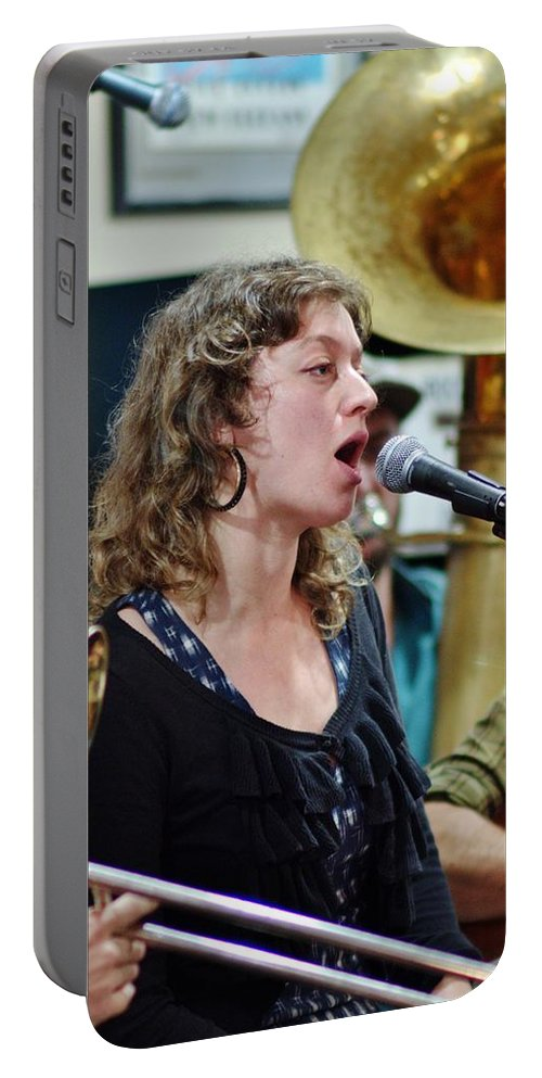 Jazz Portable Battery Charger featuring the photograph Erika Lewis With Tuba Skinny by William Morgan