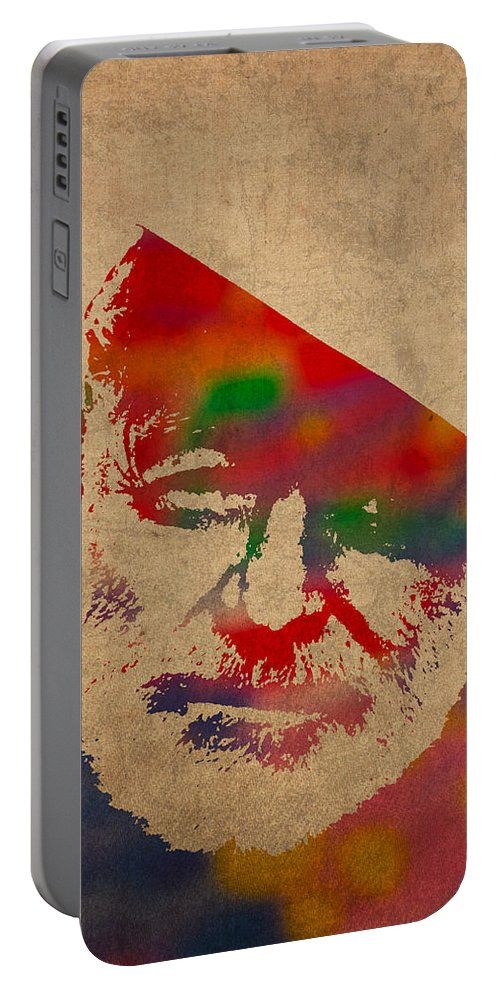 Ernest Hemingway Watercolor Portrait On Worn Distressed Canvas Portable Battery Charger featuring the mixed media Ernest Hemingway Watercolor Portrait On Worn Distressed Canvas by Design Turnpike