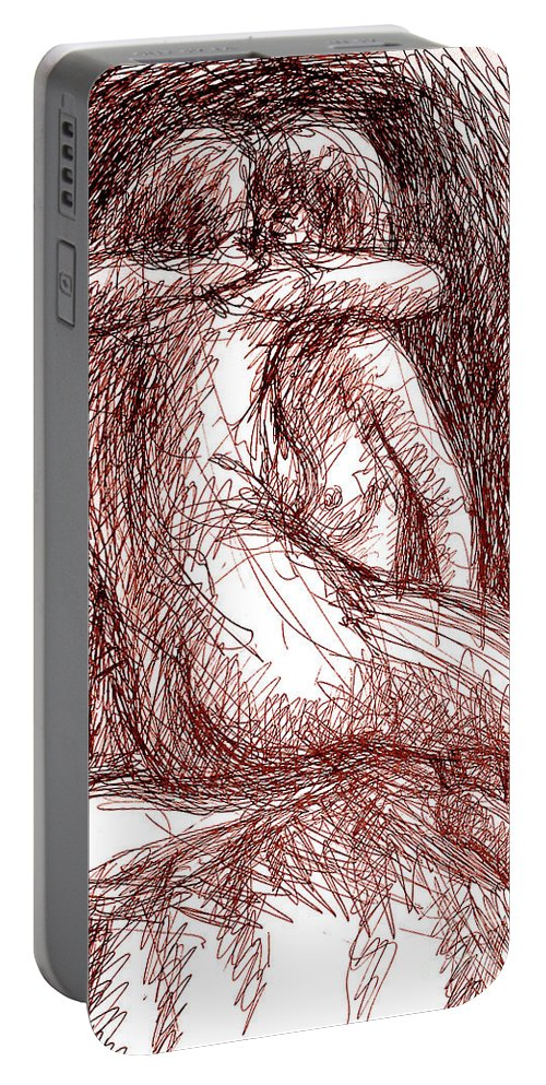 Erotic Renderings Portable Battery Charger featuring the drawing Erotic Drawings 19-2 by Gordon Punt