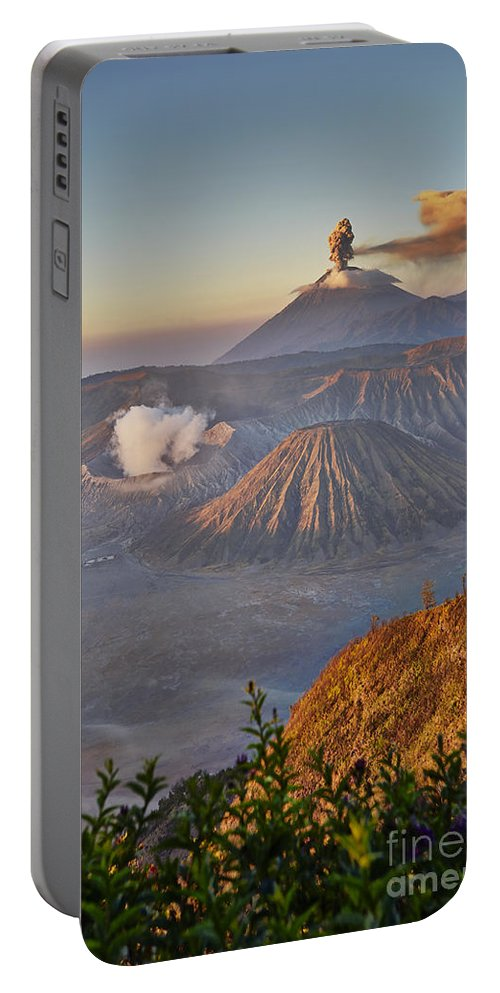 Adventure Portable Battery Charger featuring the photograph eruption at Gunung Bromo by Juergen Ritterbach