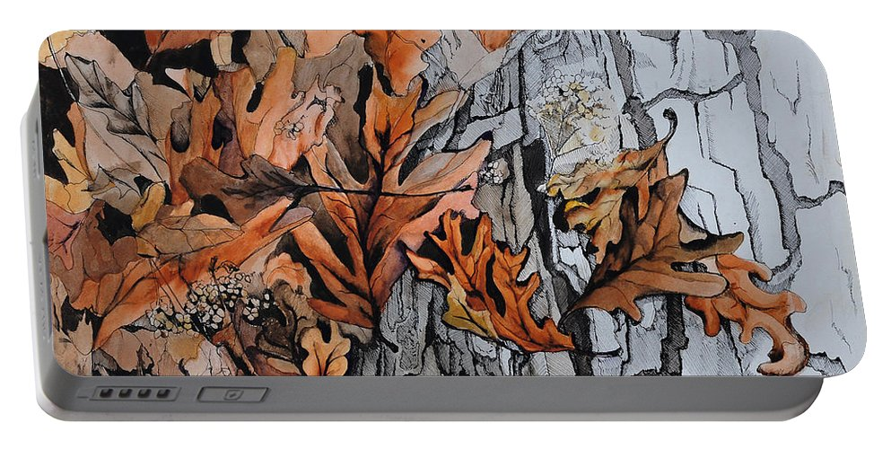 Abstract Portable Battery Charger featuring the painting Eruption I by Rachel Christine Nowicki
