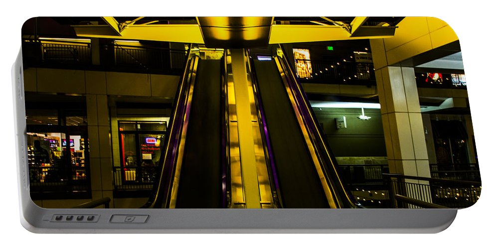 Escalator Portable Battery Charger featuring the photograph Escalator Lights by Angus Hooper Iii