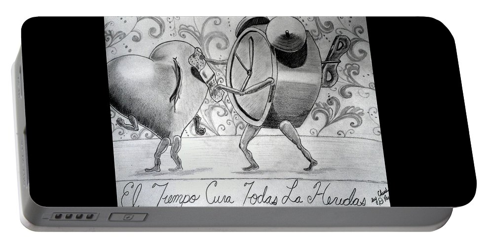 Time Portable Battery Charger featuring the drawing Especialmente Para Zanito by Chenee Reyes