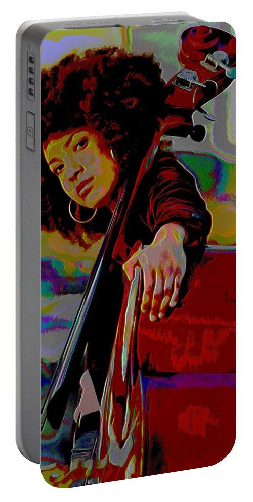 Esperanza Spalding Portable Battery Charger featuring the painting Esperanza Spalding by Fli Art
