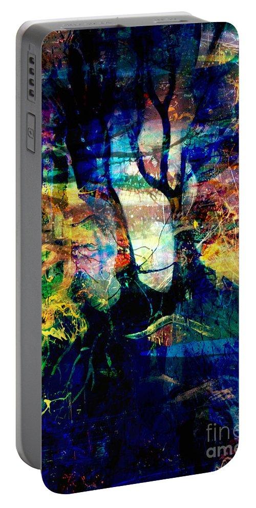 Fania Simon Portable Battery Charger featuring the mixed media Espionnage by Fania Simon