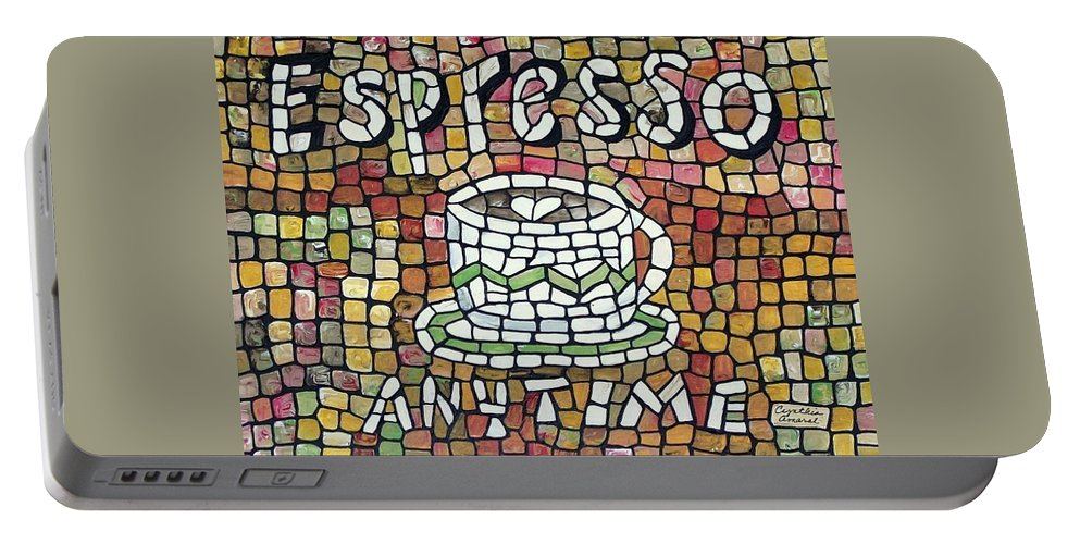 Mosaic Portable Battery Charger featuring the painting Espresso by Cynthia Amaral