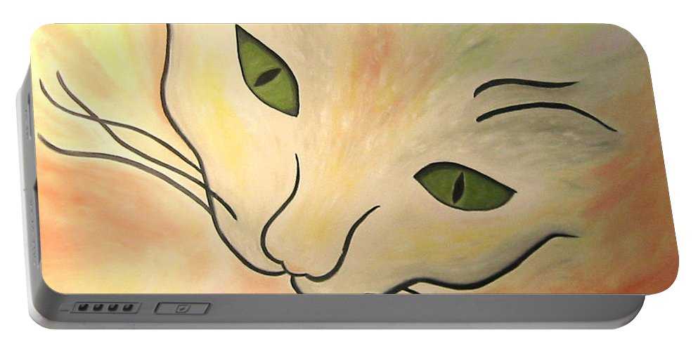 Karen Zuk Rosenblatt Portable Battery Charger featuring the painting Essence Of Cat by Karen Zuk Rosenblatt