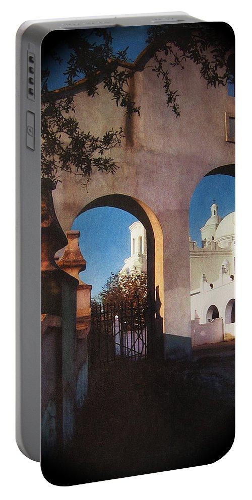 Esther Henderson Rear Entrance San Xavier Mission Tucson Arizona Deardorff View Camera Portable Battery Charger featuring the photograph Esther Henderson Photo Back North Entrance Of San Xavier Mission Tucson Arizona 1957-2013 by David Lee Guss
