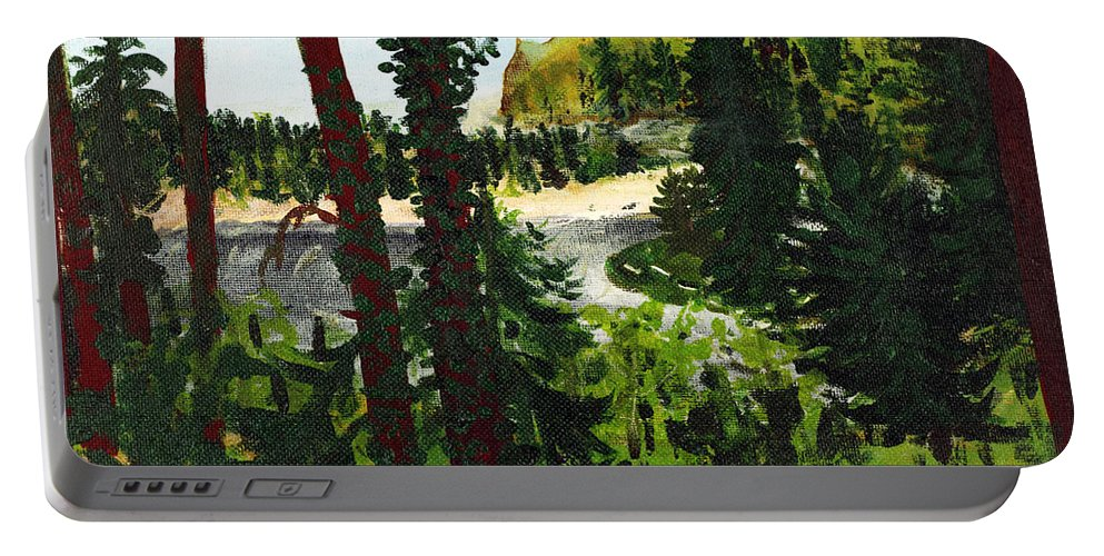 Estuary Portable Battery Charger featuring the painting Estuary In Oregon by Lee Serenethos