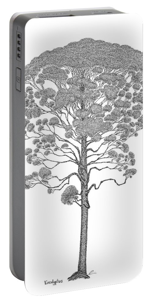 Tree Portable Battery Charger featuring the drawing Eucalyptus by Andrea Currie