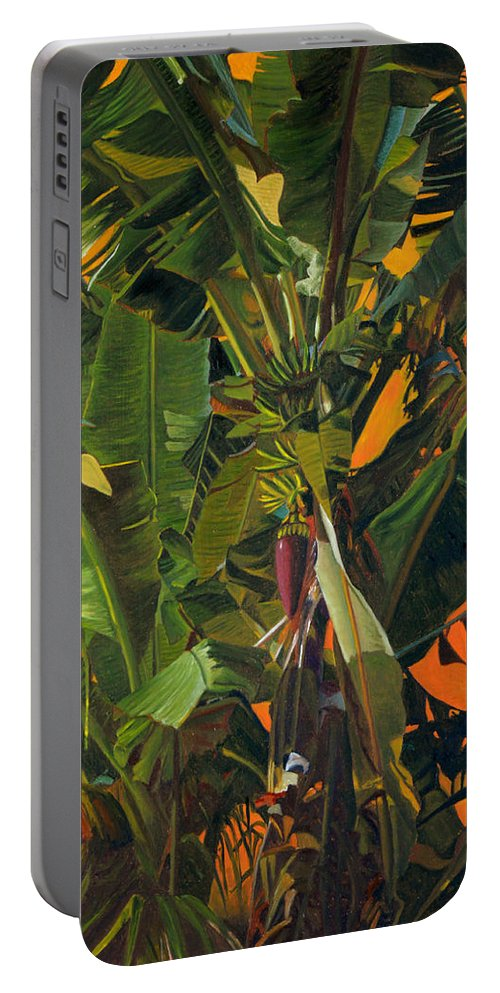 Banana Tree Portable Battery Charger featuring the painting Eugene And Evans' Banana Tree by Thu Nguyen