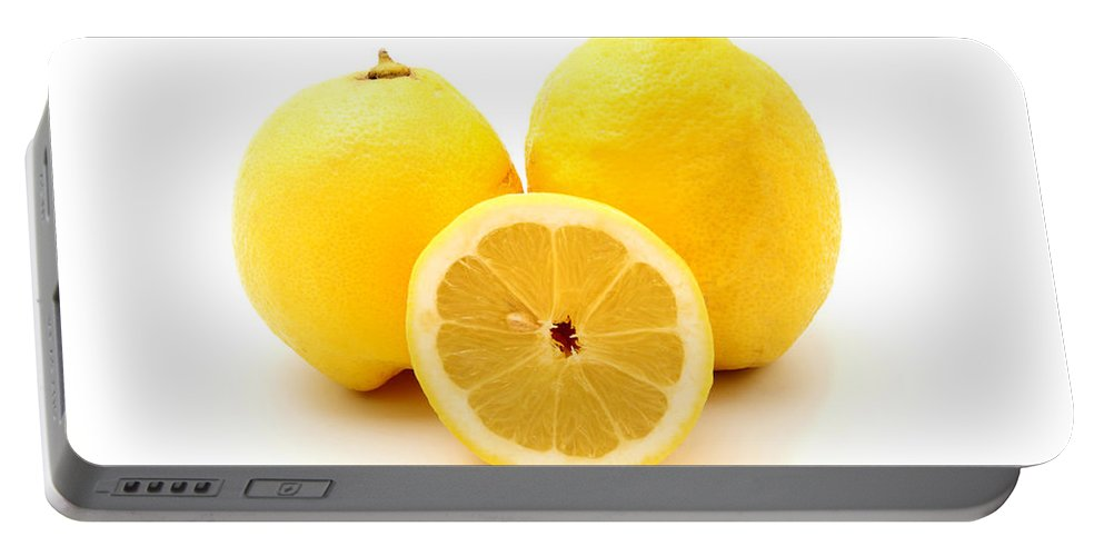 White Background Portable Battery Charger featuring the photograph Eureka Lemons by Fabrizio Troiani