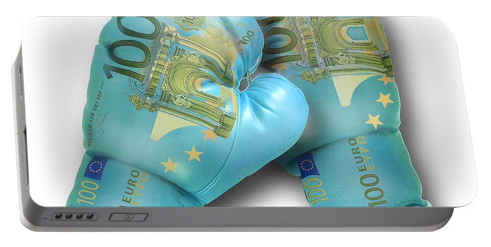Money Portable Battery Charger featuring the digital art Euro Gloves-2 by Chris Van Es