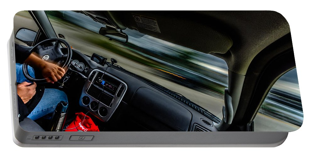 Car Portable Battery Charger featuring the photograph Evasive Maneuver by Randy Scherkenbach