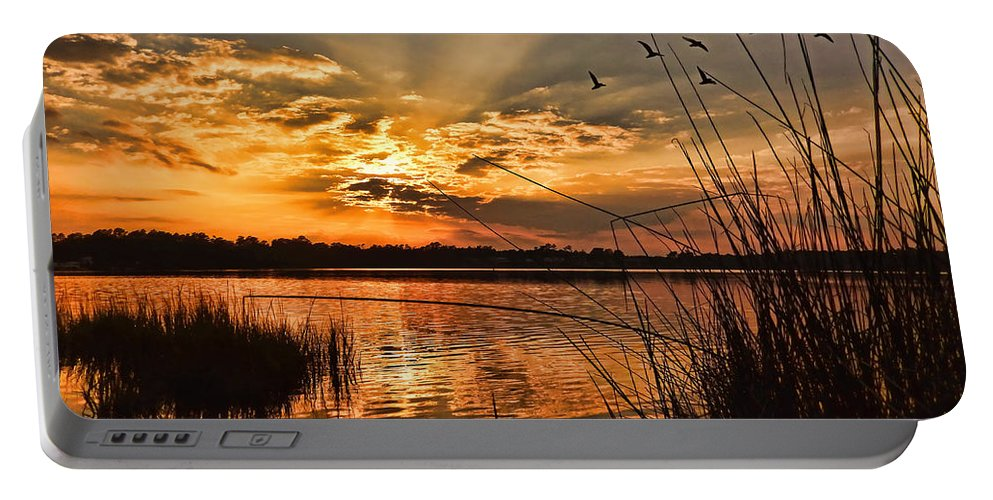 Seascape Portable Battery Charger featuring the photograph Evening Calm by Kelley Freel-Ebner