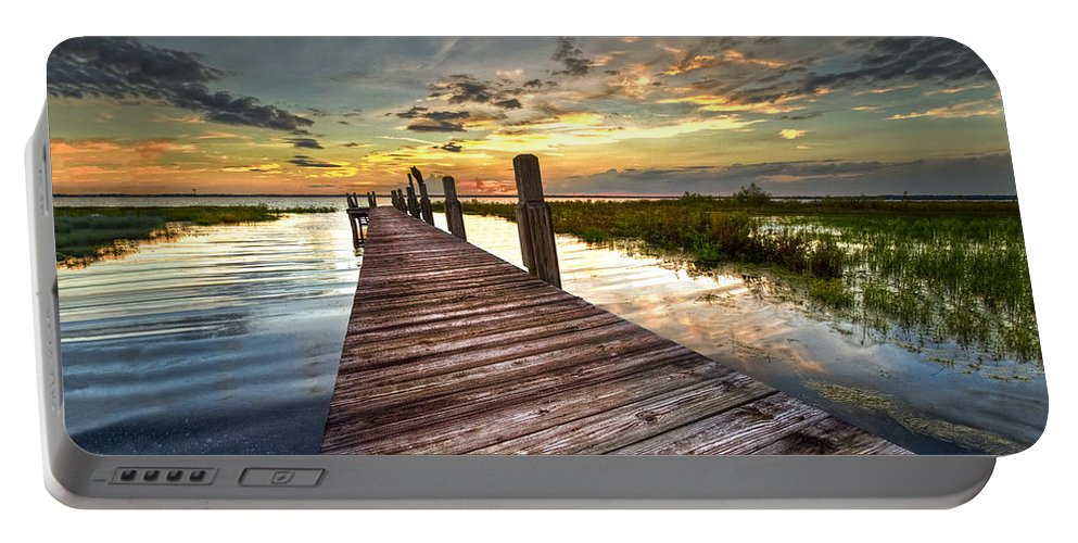 Clouds Portable Battery Charger featuring the photograph Evening Dock by Debra and Dave Vanderlaan