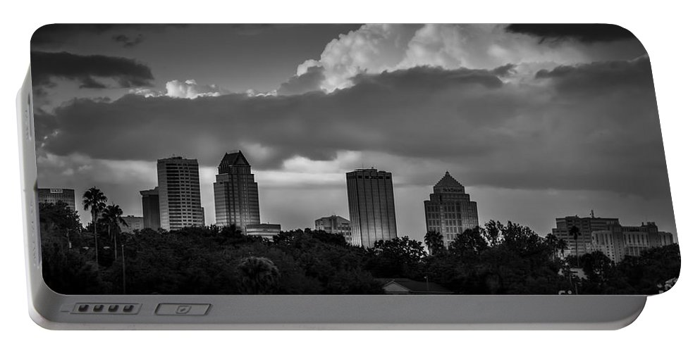 Tampa Skyline Portable Battery Charger featuring the photograph Evening Gray by Marvin Spates