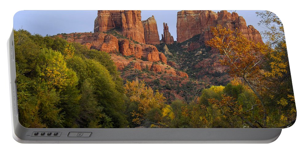Sedona Arizona Red Rock Crossing Cathedral Oak Creek Stream Streams Creeks Sandstone Stone Formation Formations Fall Color Autumn Leaves Tree Trees Landscape Landscapes Sunset Sunsets Landmark Landmarks Portable Battery Charger featuring the photograph Evening Light On Cathedral Rock by Bob Phillips