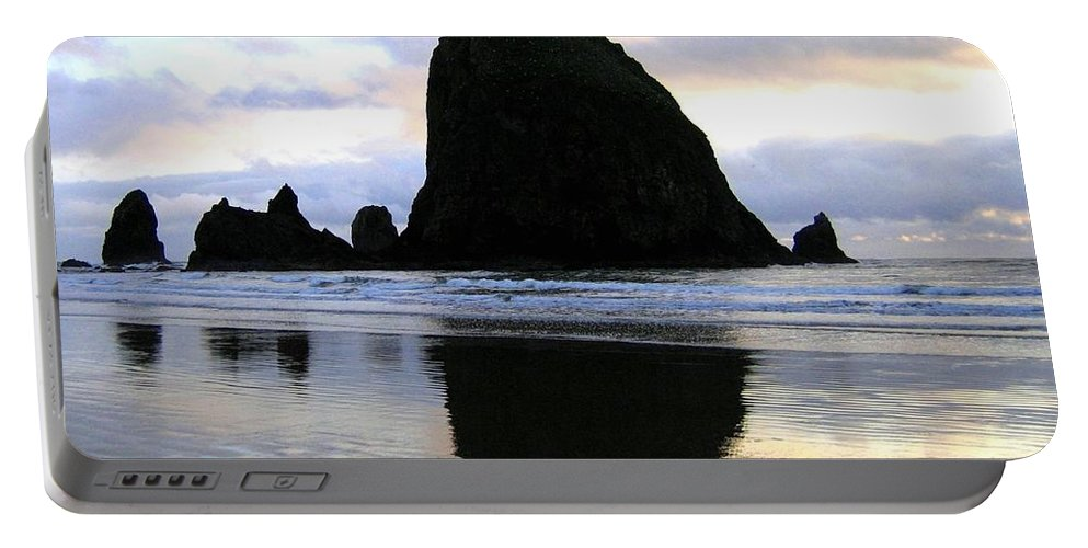 Haystack Rock Portable Battery Charger featuring the photograph Evening Luster by Will Borden