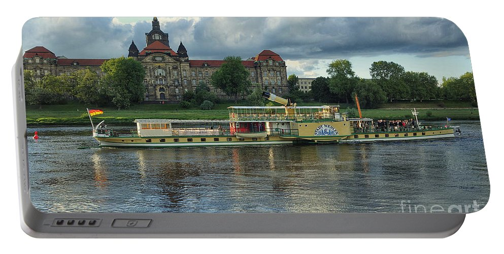 Photo Portable Battery Charger featuring the photograph Evening Mood On The Elbe by Jutta Maria Pusl