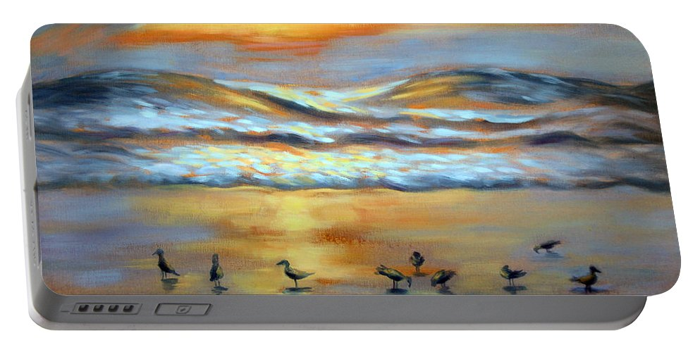 Sunset Portable Battery Charger featuring the painting Evening Prayers by Karin Leonard