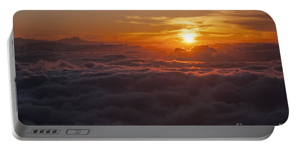 Haleakala National Park Volcano Area Maui Hawaii Evening Sky Skies Cloud Clouds Sunset Sunsets Sun Cloud Clouds Parks Portable Battery Charger featuring the photograph Evening Reds by Bob Phillips