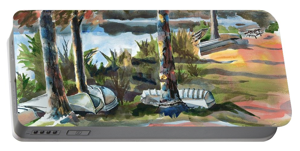 Evening Shadows At Shepherd Mountain Lake No W101 Portable Battery Charger featuring the painting Evening Shadows At Shepherd Mountain Lake No W101 by Kip DeVore