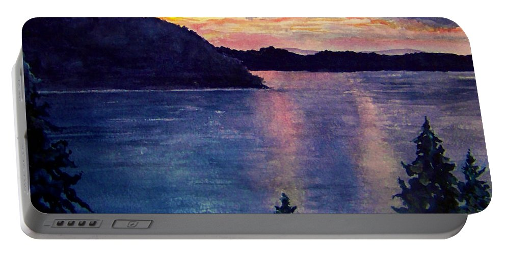 Sunset Portable Battery Charger featuring the painting Evening Song by Brenda Owen