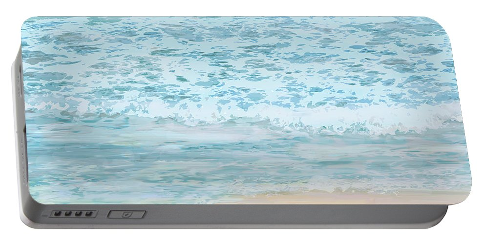 Ocean Portable Battery Charger featuring the digital art Evening Surf by Ian MacDonald