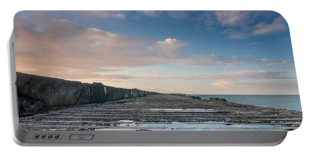 Sunset Portable Battery Charger featuring the photograph Evening View Down The South Jetty by Greg Nyquist