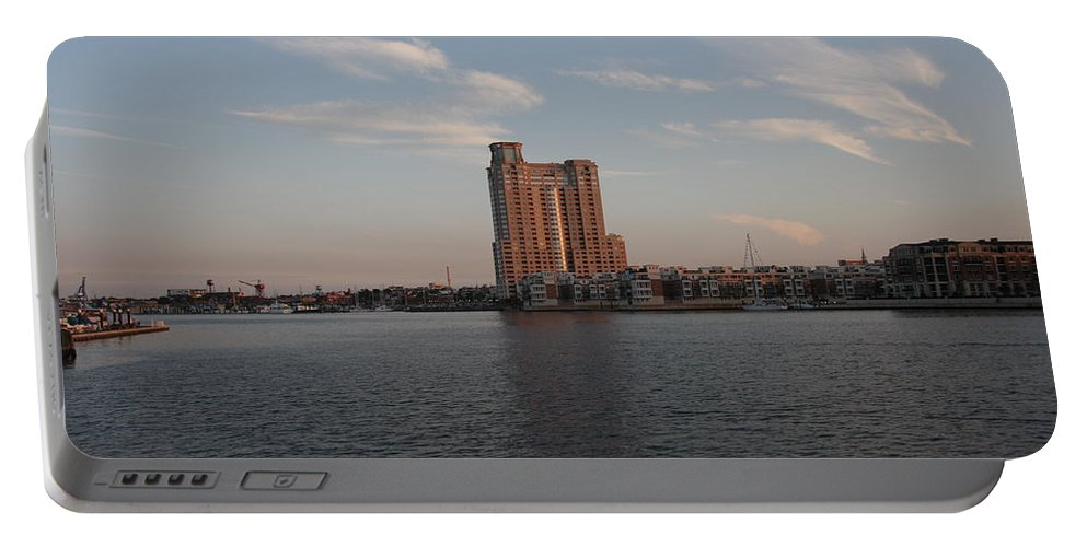 Habor Portable Battery Charger featuring the photograph Eveninglight Baltimore Inner Harbor by Christiane Schulze Art And Photography