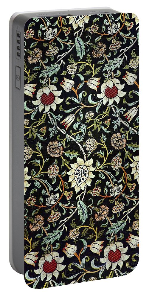 Arts And Crafts Portable Battery Charger featuring the digital art Evenlode Pattern In Green by William Morris