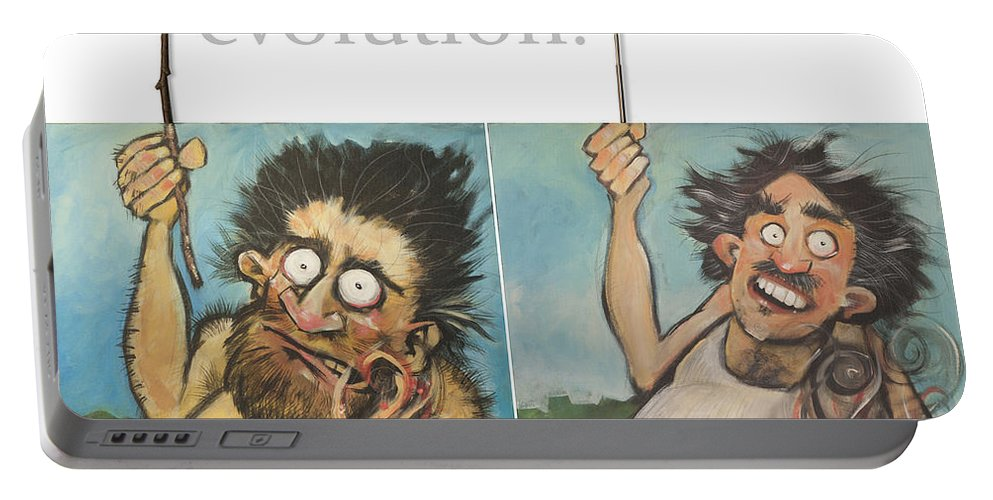 Steak Portable Battery Charger featuring the painting Evolution The Poster by Tim Nyberg