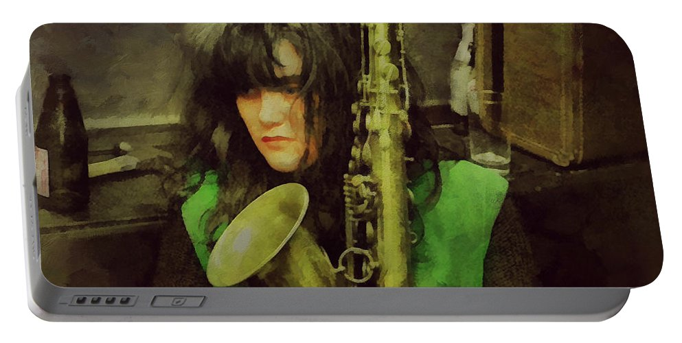 X Portable Battery Charger featuring the painting Exene by Janice MacLellan