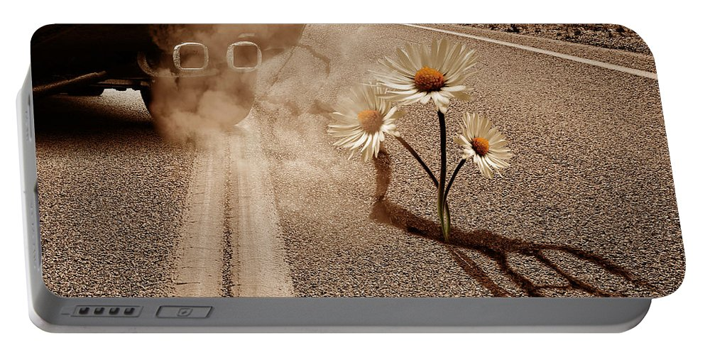 Exhausting Pipe Portable Battery Charger featuring the digital art Exhausting Pipe Flowers by Marian Voicu
