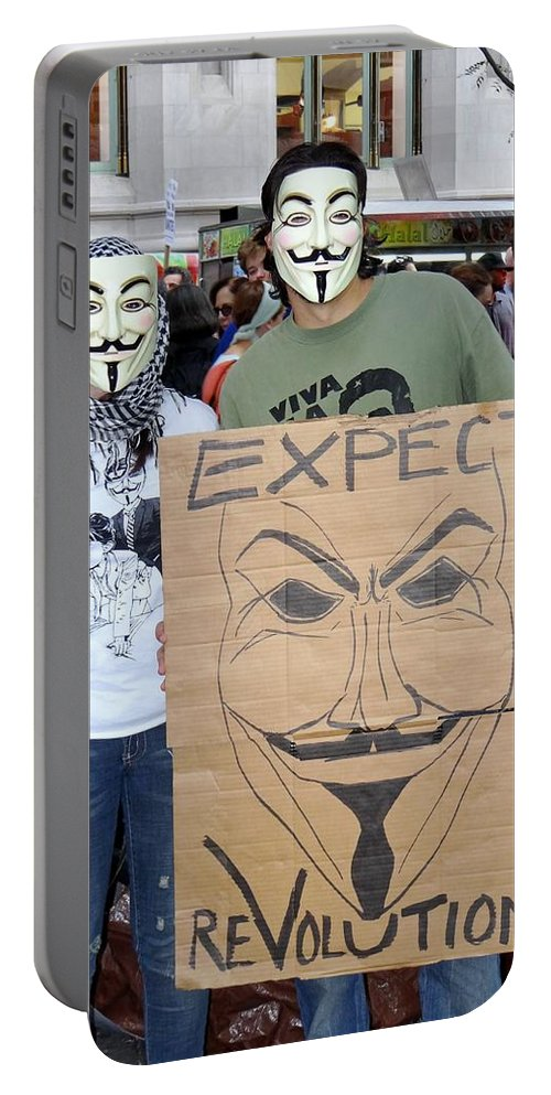 Occupy Wall Street Portable Battery Charger featuring the photograph Expect Revolution by Ed Weidman